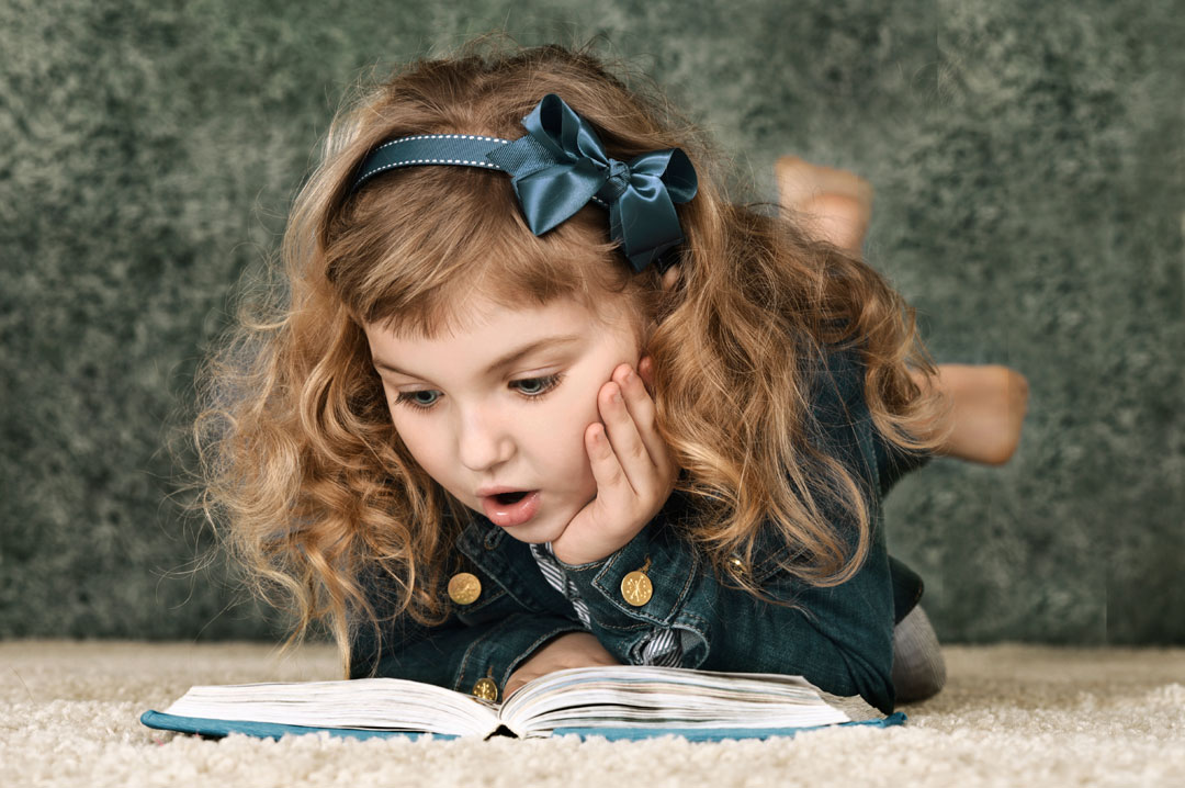 Girl Reading Print Book