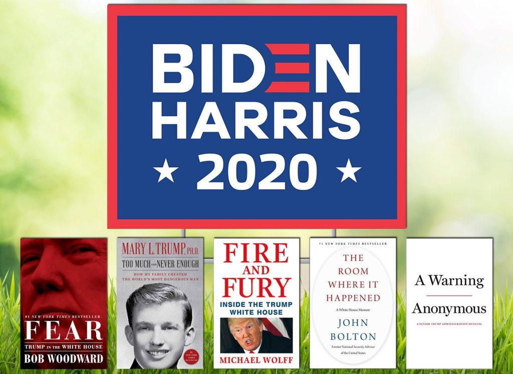 Joe Biden Yard Sign with Trump Books